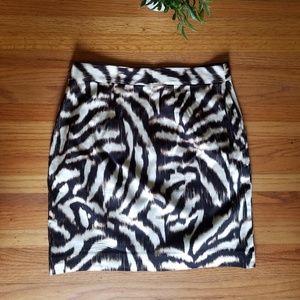 Ann Taylor  Animal Print Skirt - Black/Ivory 2P